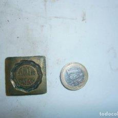 Antigüedades: PRECIOSO MOLDE DE IMPRENTA AÑOS 30 40 METAL,,, GASEOSAS AZUCENA,,,. Lote 115115767