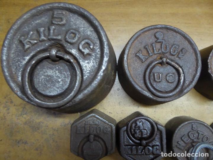 Antigüedades: 17 PESAS DE HIERRO EN BUEN ESTADO - Foto 2 - 115312699