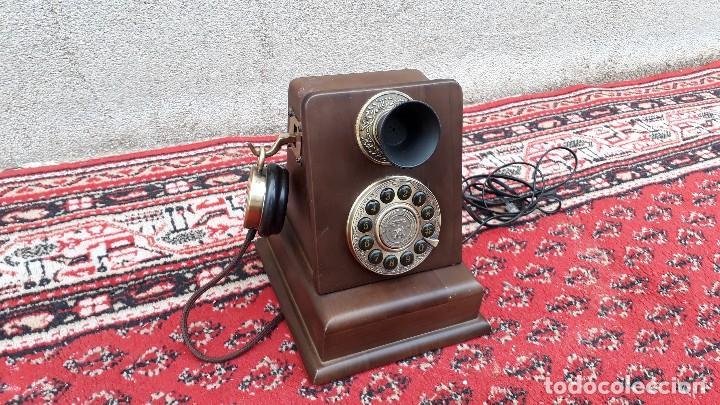 Teléfonos: Teléfono antiguo retro vintage, réplica teléfono siglo XIX, nuevo, funciona. - Foto 2 - 115344775