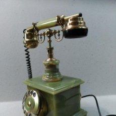 Teléfonos: TELEFONO DE SOBREMESA EN MARMOL VERDE Y BRONCE. Lote 115465767