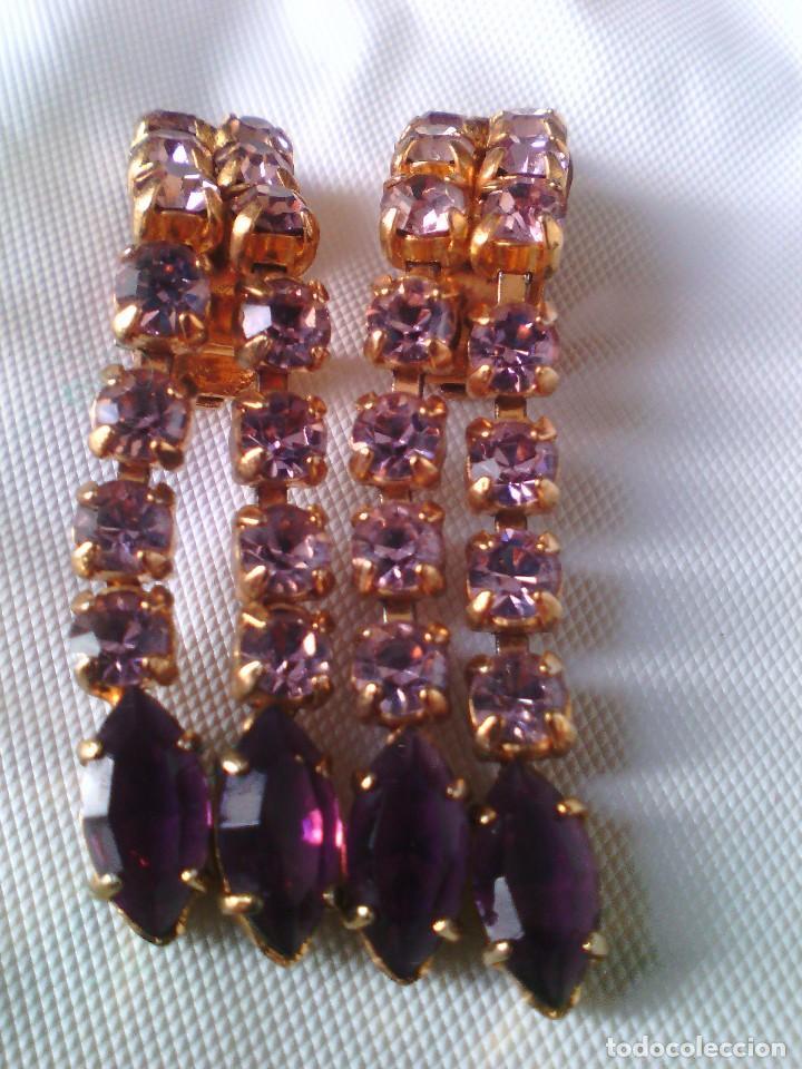 Antigüedades: Pendientes STRASS de clip - Foto 2 - 115513547