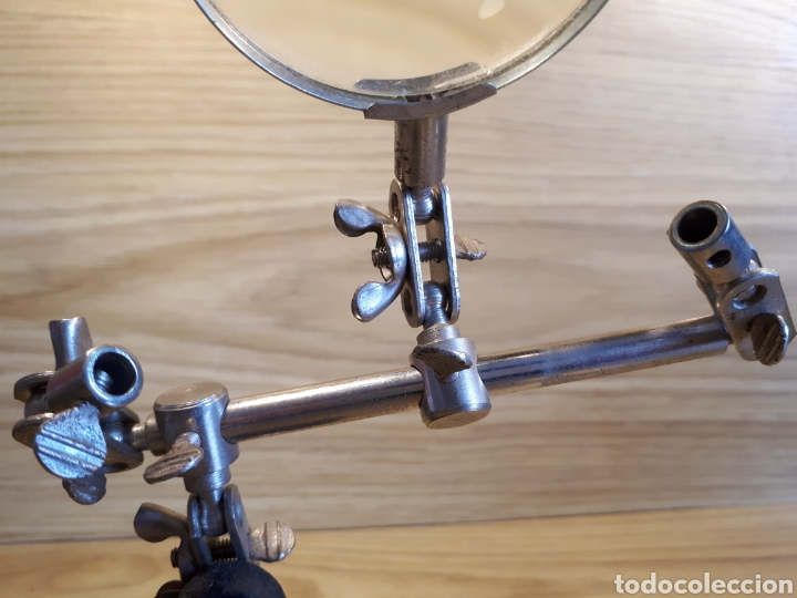 Antigüedades: Lupa de mesa para joyero, relojero o similar. Ajustable. - Foto 6 - 115557768
