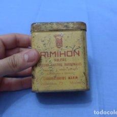 Antigüedades: * ANTIGUA CAJA DE HOJALATA DE MEDICAMENTO RIMIHON DE MADRID. MEDICINA. ORIGINAL. ZX. Lote 116218595