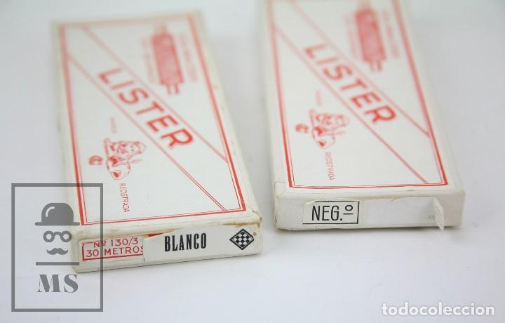Antigüedades: Pareja de Cajas con Bobinas de Hilo Blanco y Negro - Seda para Coser Lister. León Encarnado - Foto 4 - 155194049