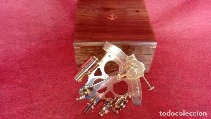 SEXTANTE, . ASTROLABIO CAJA MADERA 18X18X11 (Antigüedades - Técnicas - Instrumentos Ópticos - Catalejos Antiguos)