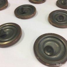 Antigüedades: LOTE 9 TIRADOR CON EMBELLECEDOR MADERA Y METAL. Lote 116647855