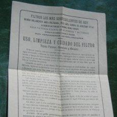 Antigüedades: FILTRO TEORIA PASTEUR - FOLLETO USO, LIMPIEZA Y CUIDADOS. Lote 116662599