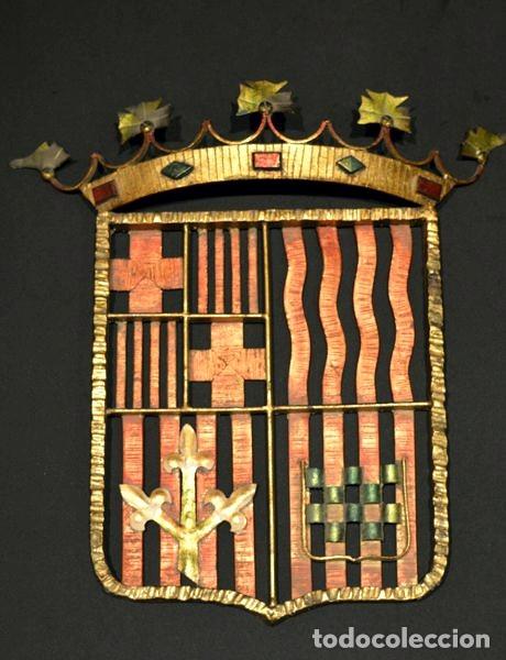 Antigüedades: GRAN ESCUDO CATALUNYA EN FORJA DE HIERRO BARCELONA TARRAGONA LLEIDA GIRONA - Foto 2 - 53714874