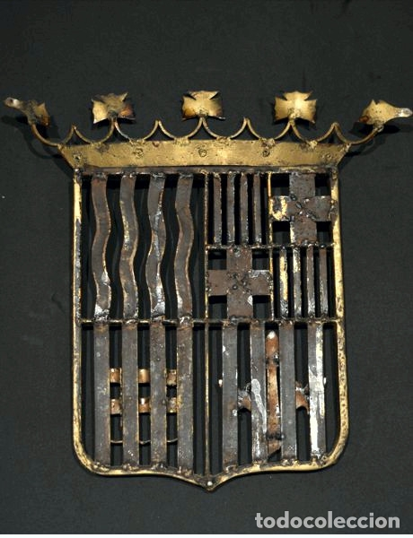 Antigüedades: GRAN ESCUDO CATALUNYA EN FORJA DE HIERRO BARCELONA TARRAGONA LLEIDA GIRONA - Foto 9 - 53714874