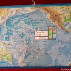 Antigüedades: MAPA MURAL FISICO Y POLITICO DE OCEANIA. EDITORIAL VICENTS VIVES. 1971.. Lote 116810159