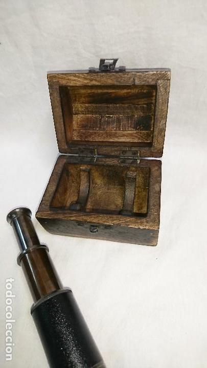 Antigüedades: CATALEJO RÉPLICA CON CAJA DE MADERA - Foto 4 - 165334281