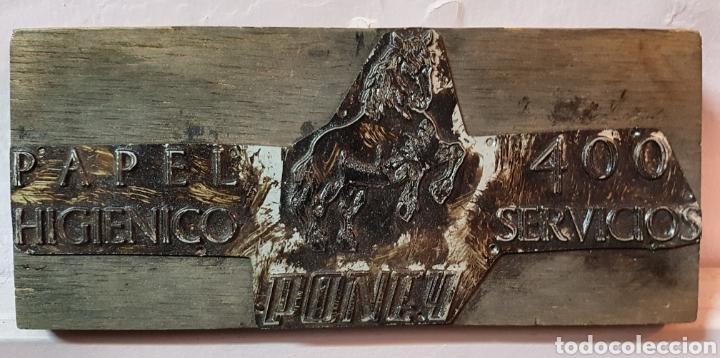Antigüedades: PAPEL HIGIENICO EL PONEY , ANTIGUO TAMPÓN. SELLO DE IMPRENTA.CUÑO DE MADERA. CLICHÉ. - Foto 2 - 117587986