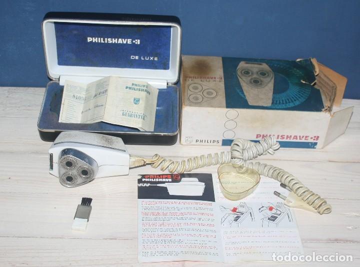 Antigüedades: Maquinilla de afeitar PHILISHAVE 3 DE LUXE con caja, estuche e instrucciones - Foto 2 - 117756447