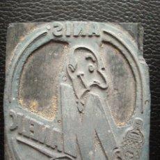 Antigüedades: ANTIGUA PLANCHA PLACA PARA IMPRIMIR ETIQUETAS ANIS MANELIC. Lote 118337219