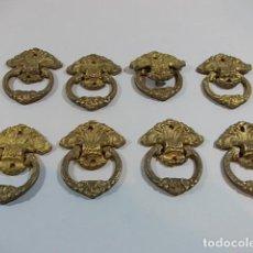 Antigüedades: ANTIGUO JUEGO DE 8 TIRADORES EN BRONCE DORADO.. Lote 118441139