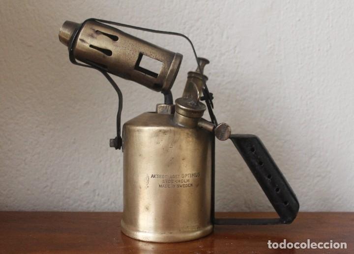 ANTIGUO SOLDADOR SOPLETE PISTOLA SOLDAR DE PARAFINA BRONCE MADE SWEDEN SUIZA - PIEZA COLECCIONISTAS (Antigüedades - Técnicas - Herramientas Profesionales - Mecánica)