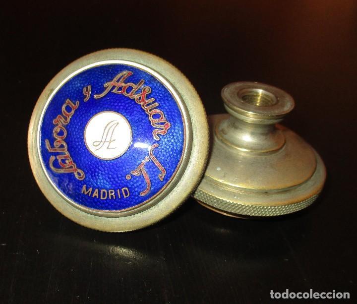 PAREJA DE ANTIGUOS TIRADORES DE BRONCE ESMALTADOS DE LABORA Y ADSUAR S.L. MADRID. (Antigüedades - Técnicas - Cerrajería y Forja - Tiradores Antiguos)
