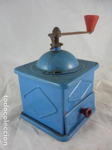 Antigüedades: Molinillo Cafe Elma Azul Metal - Foto 3 - 118929707