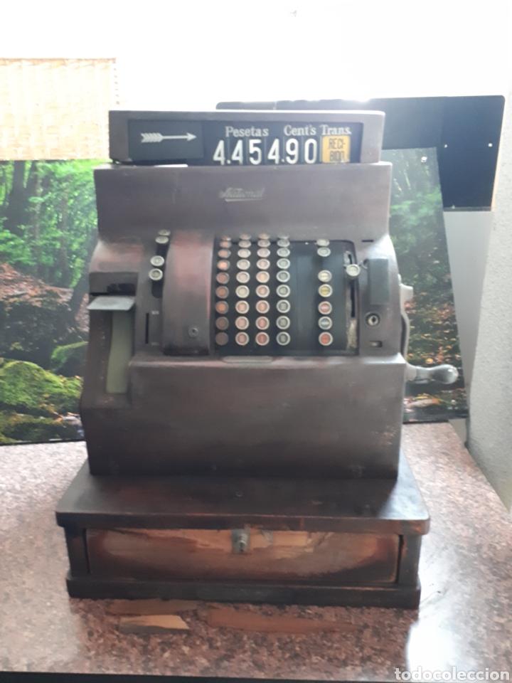 Antigüedades: Impresionante máquina registradora NATIONAL principios siglo XIX en madera y metal - Foto 3 - 119303759