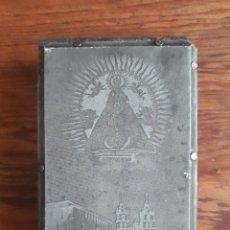 Antigüedades: ANTIGUA PLANCHA SOBRE MADERA PARA IMPRIMIR LA IMAGEN DE N. SEÑORA DE LAS ERMITAS O BOLO OURENSE. Lote 119389835