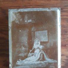 Antigüedades: ANTIGUA PLANCHA SOBRE MADERA PARA IMPRIMIR LA IMAGEN DE N. S. DE LAS ANGUSTIAS HERBON A CORUÑA. Lote 119391927