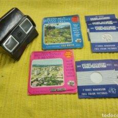 Antigüedades: ESTEREOSCOPIO TRIDIMENSIONAL MARCA VIEW-MASTER, HECHO EN BAQUELITA AÑOS 1940 MÁS 6 DISCOS IMÁGENES.. Lote 119590079