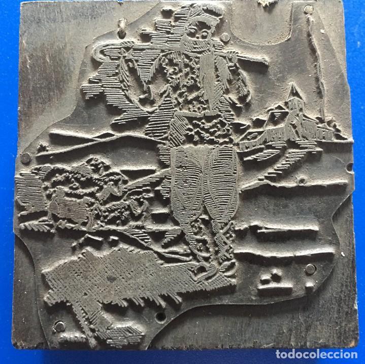 ESPECTACULAR PLANCHA METALICA DE IMPRENTA FELICITACION DE NAVIDAD CON PASTOR Y OVEJAS (Antigüedades - Técnicas - Herramientas Profesionales - Imprenta)