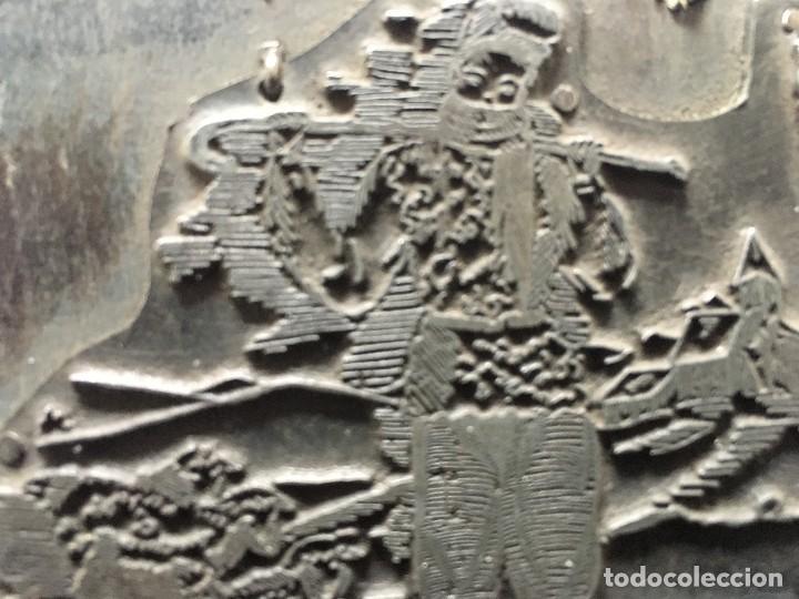 Antigüedades: ESPECTACULAR PLANCHA METALICA DE IMPRENTA FELICITACION DE NAVIDAD CON PASTOR Y OVEJAS - Foto 3 - 119946323