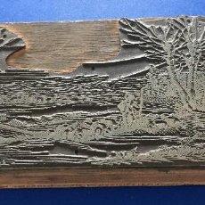 Antigüedades: ESPECTACULAR PLANCHA METALICA DE IMPRENTA FELICITACION NAVIDAD. PASTOR OVEJAS Y ESTRELLA DE BELEN. Lote 119948567