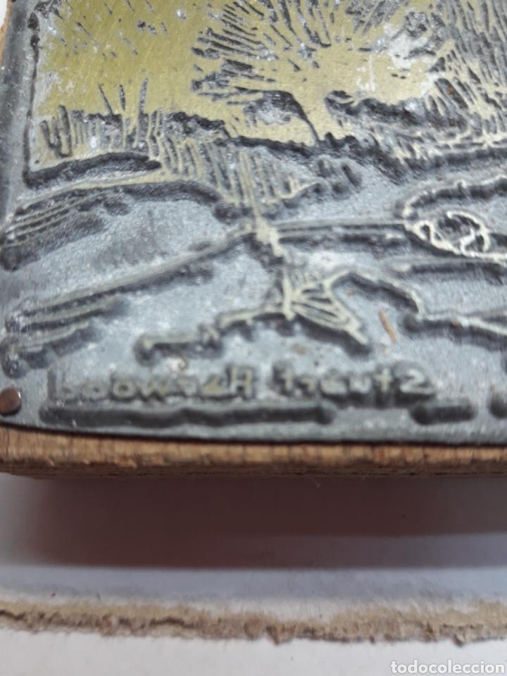 Antigüedades: Tampón metálico imprenta antiguo firmado por artista - Foto 2 - 120011399