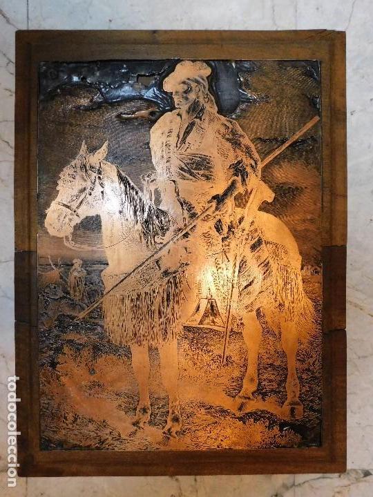 PLANCHA ANTIGUA DE COBRE PARA IMPRENTA [GRANDE] REJONEADOR DE CAMPO (Antigüedades - Técnicas - Herramientas Profesionales - Imprenta)