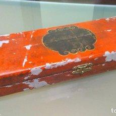 Antigüedades: ANTIGUO ÁBACO CHINO CUENTAS DE CUERNO EN CAJA ORIGINAL CON REGLA. Lote 120855323