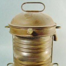 Antigüedades: MUY ANTIGUO FAROL LÁMPARA DE BARCO EN METAL Y CRISTAL.. Lote 121138439