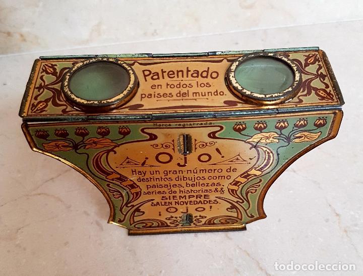 Antigüedades: ANTIGUO APARATO ESTEREOSCOPICO PUBLICITARIO DE LATA LITOGRAFIADA IMPERIAL,PLEGABLE Y LOTE DE VISTAS - Foto 3 - 121178387