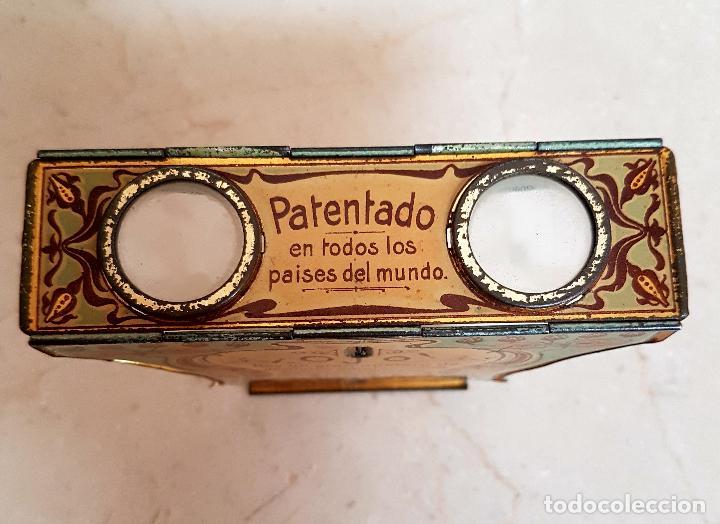Antigüedades: ANTIGUO APARATO ESTEREOSCOPICO PUBLICITARIO DE LATA LITOGRAFIADA IMPERIAL,PLEGABLE Y LOTE DE VISTAS - Foto 4 - 121178387