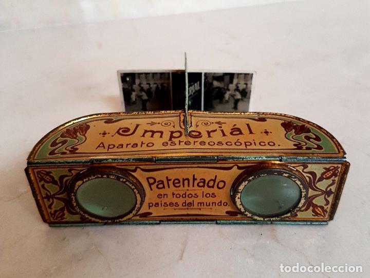 Antigüedades: ANTIGUO APARATO ESTEREOSCOPICO PUBLICITARIO DE LATA LITOGRAFIADA IMPERIAL,PLEGABLE Y LOTE DE VISTAS - Foto 6 - 121178387