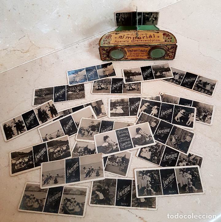Antigüedades: ANTIGUO APARATO ESTEREOSCOPICO PUBLICITARIO DE LATA LITOGRAFIADA IMPERIAL,PLEGABLE Y LOTE DE VISTAS - Foto 7 - 121178387