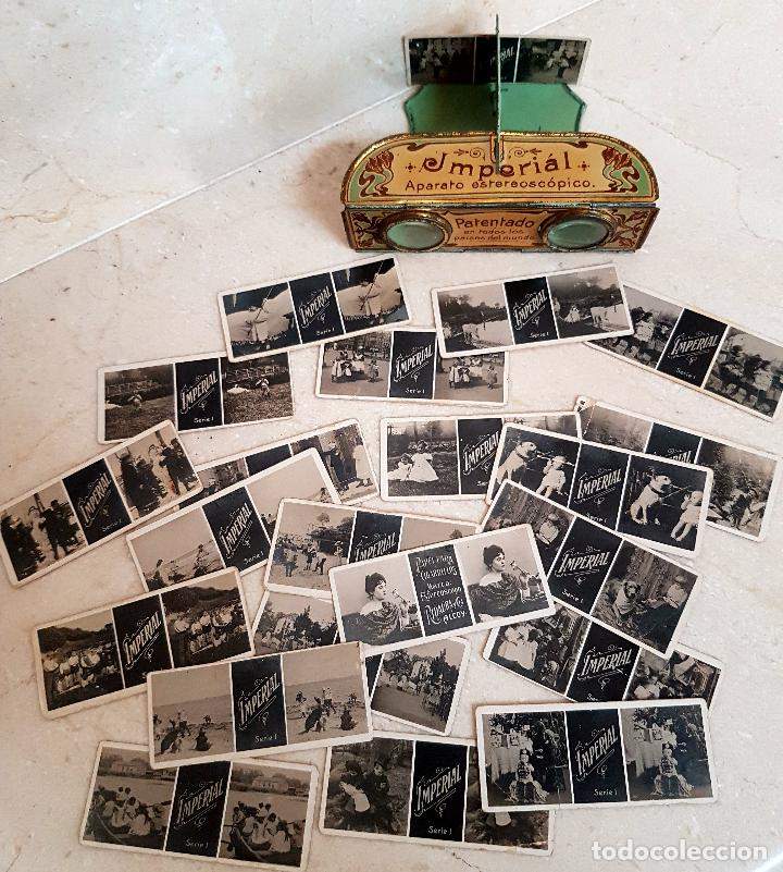 Antigüedades: ANTIGUO APARATO ESTEREOSCOPICO PUBLICITARIO DE LATA LITOGRAFIADA IMPERIAL,PLEGABLE Y LOTE DE VISTAS - Foto 12 - 121178387