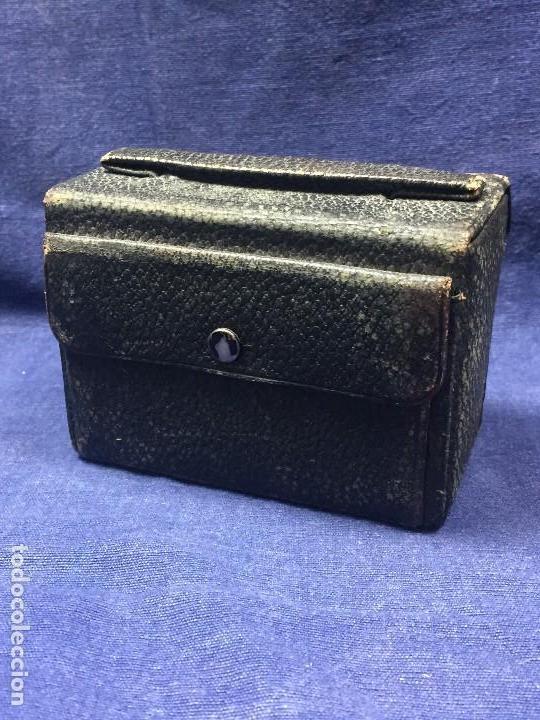 Antigüedades: neceser estuche caballero viaje barbería piel negro espejo interior bolsillo exterior ppio s xx - Foto 3 - 121231395