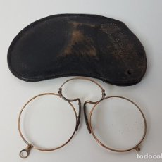 Antigüedades: GAFAS TIPO QUEVEDO CON FUNDA ORIGINAL COTTET ( BARCELONA ). Lote 121268171