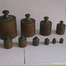 Antigüedades: LOTE DE 10 PONDERALES ESPAÑOLES DE PRINCIPIOS S.XIX. ENSAYADOR SP Y PUNZÓN DE LEÓN RAMPANTE.. Lote 121453703