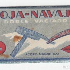 Antigüedades: MARAVILLA HOJA DE AFEITAR ACERO MAGNETICO DOBLE VACIADO. Lote 121724623