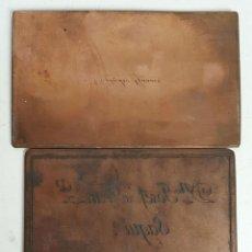Antigüedades: PAREJA DE PLACAS DE IMPRESIÓN. COBRE. TARGETA DE VISITA. RAMON Y JOSEP. SIGLO XX.. Lote 121877935