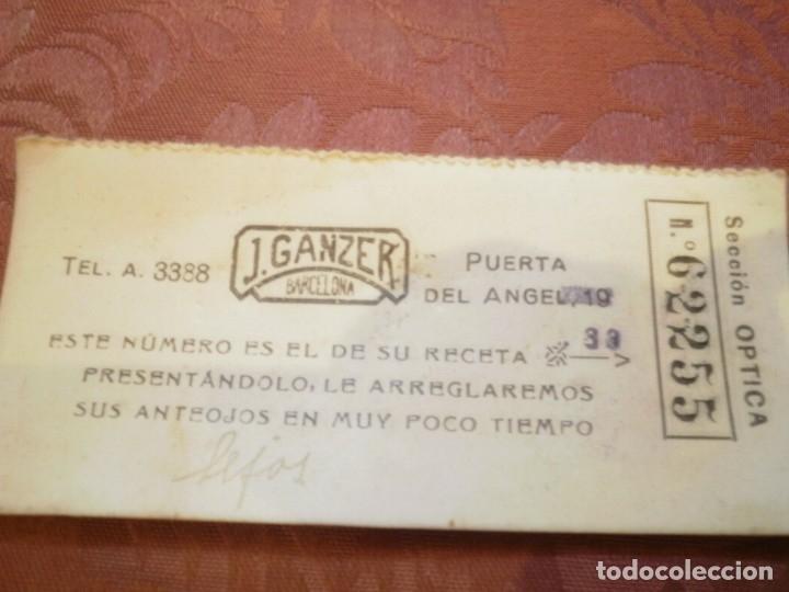 Antigüedades: ANTIGUAS GAFAS DE PASTA. J. GANZER. BARCELONA - Foto 5 - 121905347