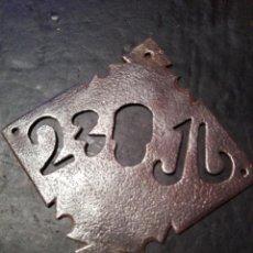 Antigüedades: ANTIGUO BOCALLAVES DE FORJA S. XVII. ORIGINAL DE LA ÉPOCA CON LOS NÚMEROS . Lote 122083475