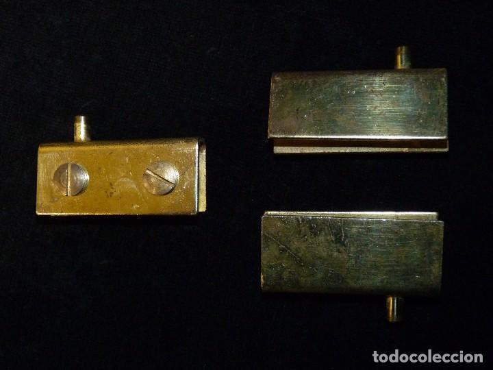 3 BISAGRAS PARA PUERTAS DE CRISTAL MUEBLE. PARA CRISTALES DE HASTA 7 MM. (Antigüedades - Técnicas - Cerrajería y Forja - Bisagras Antiguas)