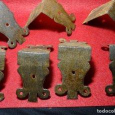 Antigüedades: LOTE 7 CANTONERA ESQUINERA O REMATE PARA BAUL , BARGUEÑO, MUEBLE.HIERRO FORJA.S.XVIII. Lote 122366807