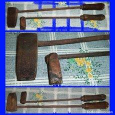 Antigüedades: 2 ANTIGUOS SOLDADORES DE ESTAÑO DE HOJALATERO O CALDERERO EN COBRE MIDEN 45/9/4 Y 40/6/2 CM. Lote 122487691