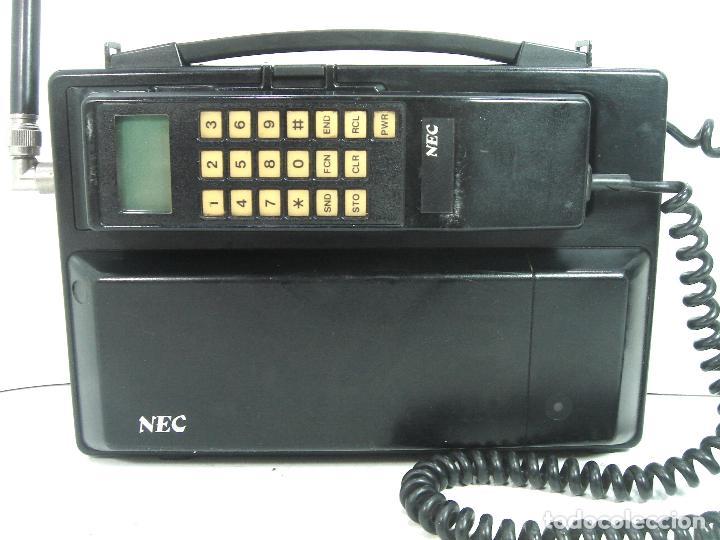 Teléfonos: ANTIGUO TELEFONO MOVIL DE COCHE - NEC TR5E - JAPAN AÑOS 80s 90s MALETA - Foto 2 - 122612671