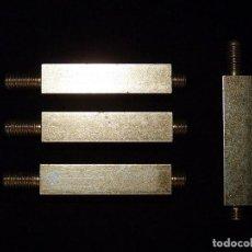 Antigüedades: LOTE DE 4 PIEZAS ROSCADAS. METAL BAÑO DORADO. Lote 122613347
